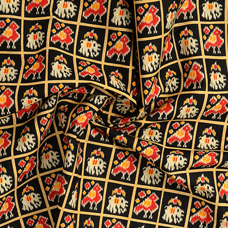 Black-Cream and Yellow Elephant Kalamkari Cotton Fabric-10095