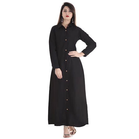 Black Full Sleeve Long Cotton Kurti-3018