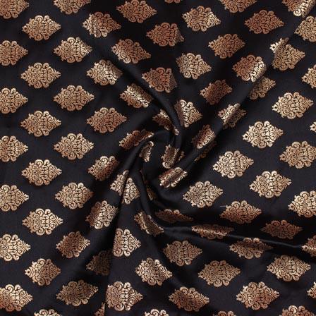 Black Golden Brocade Silk Fabric-9209