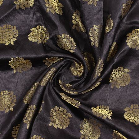 Black Golden Brocade Satin Silk Fabric-9030