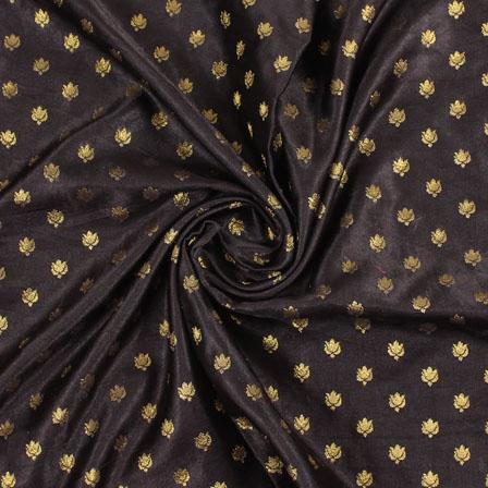 Black Golden Brocade Satin Silk Fabric-9033