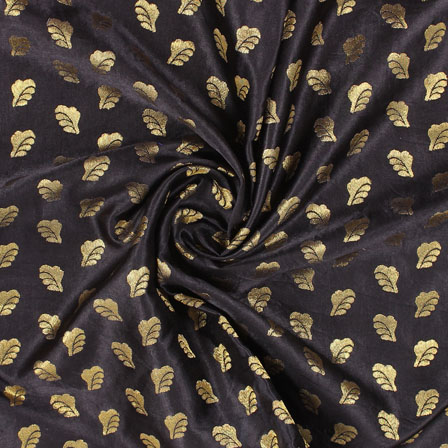 Black Golden Brocade Satin Silk Fabric-9039