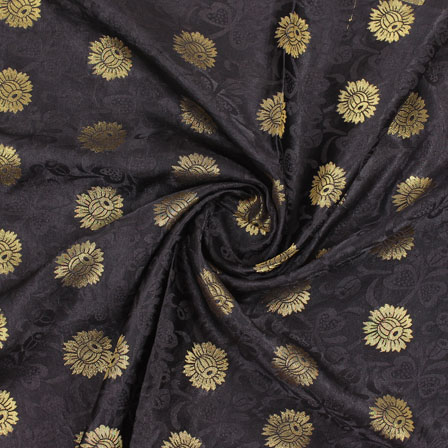 Black Golden Brocade Satin Silk Fabric-9044