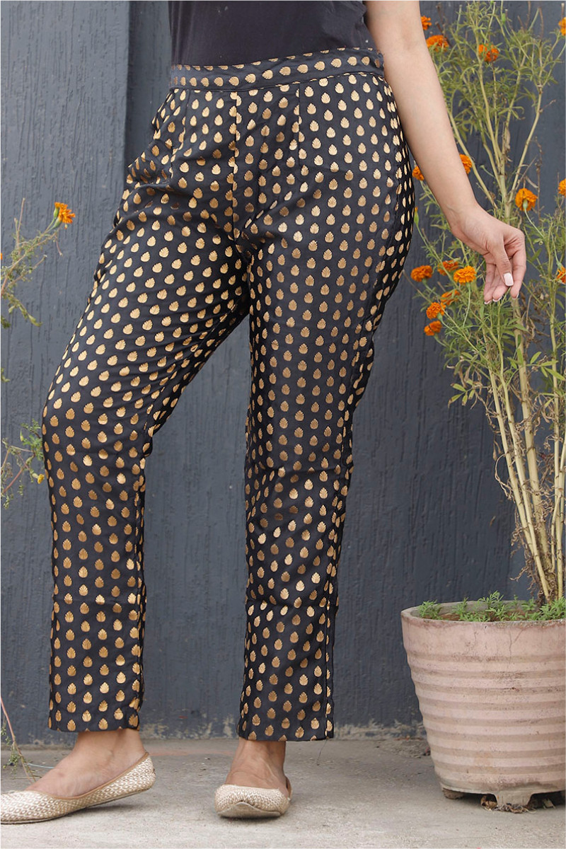 Black Golden Brocade Silk Ankle Women Pant-34208