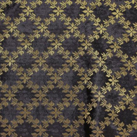 Black Golden Brocade Silk Fabric-8990