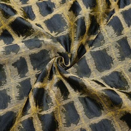 Black Golden Checks Jaquard SIlk Fabric-12439