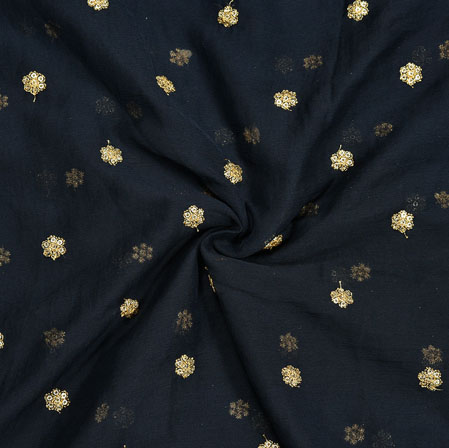 Black Golden Embroidery Silk Chiffon Fabric-18654
