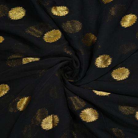 Black Golden Circle Chiffon Nazmin Fabric-41166