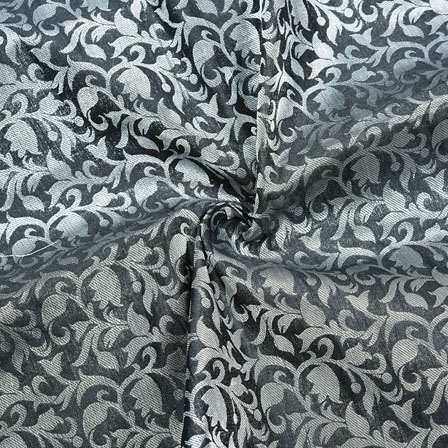 Black Golden Floral Chanderi Zari Silk Fabric-12431