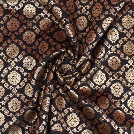 Black Golden Floral Digital Banarasi Silk Fabric-9201