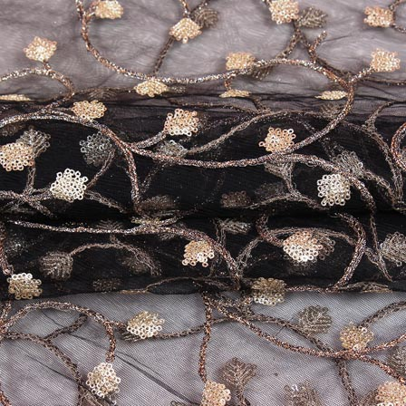 Black Golden Floral Embroidery Net Fabric-60983