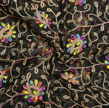 Black Golden Floral Embroidery Organza Silk Fabric-22004