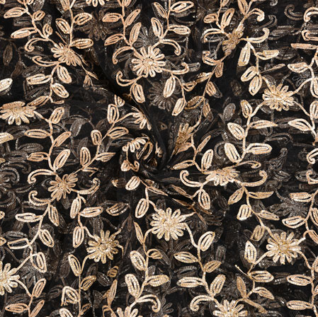 Black Golden Floral Net Embroidery Fabric-19090