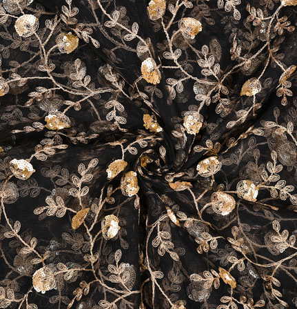 Black Golden Floral Organza Embroidery Fabric-22163