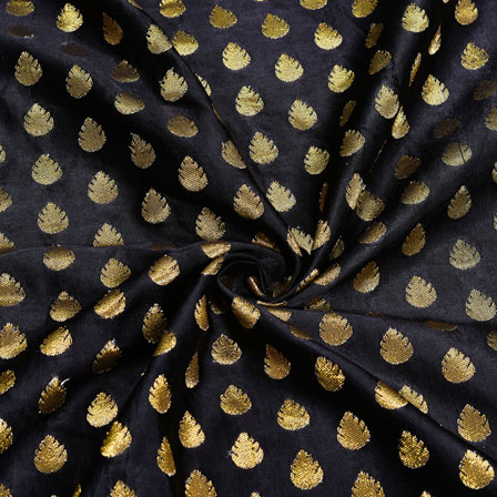 Black Golden Floral Satin Brocade Silk Fabric-12255