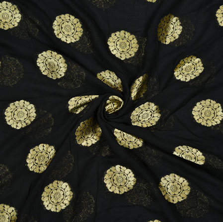 Black Golden Flower Georgette Viscose Boota Fabric-41152