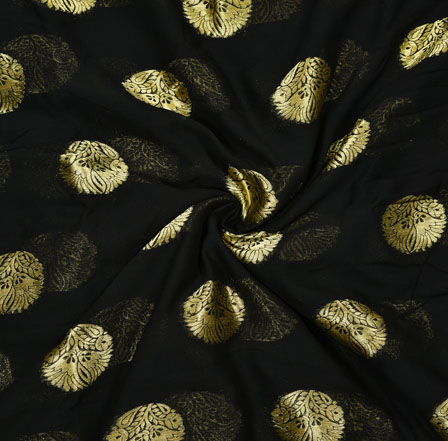 Black Golden Flower Georgette Viscose Boota Fabric-41154