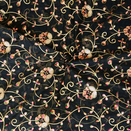 Black Golden Flower embroidery Organza Silk Fabric-51516
