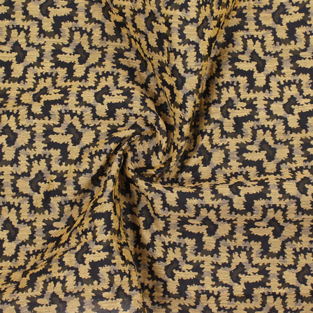 Black Golden Jacquard Cotton Fabric-9015