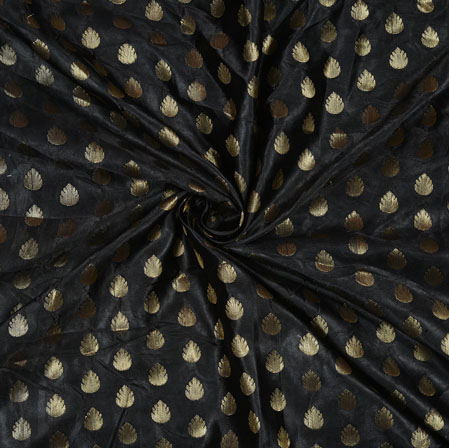 Black Golden Leaf Satin Brocade Fabric-12848