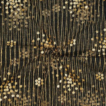 Black Golden Net Embroidery Silk Fabric-18754