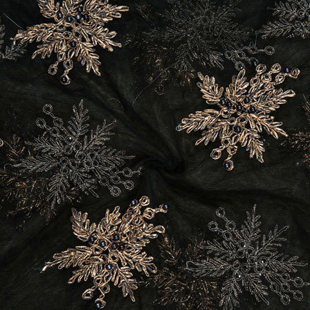 Black Golden Net Embroidery Silk Fabric-18758