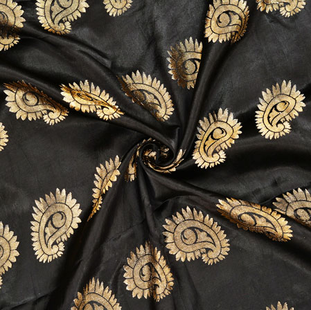 Black Golden Paisley Banarasi Silk Fabric-12569