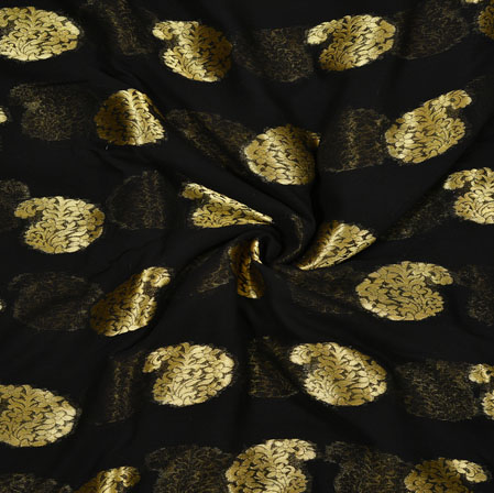 Black Golden Paisley Georgette Viscose Boota Fabric-41153