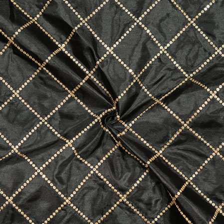 Black Golden Embroidery Silk Paper Fabric-18586