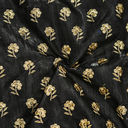 Black Golden Embroidery Silk Paper Fabric-18594