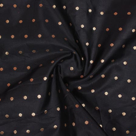 Black Golden Polka Brocade Silk Fabric-9357