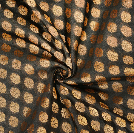 Black Golden Polka Chanderi Zari Silk Fabric-12596