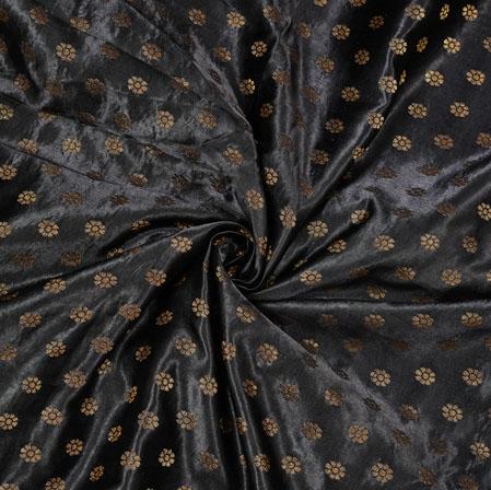 Black Golden Polka Satin Brocade Silk Fabric-12673