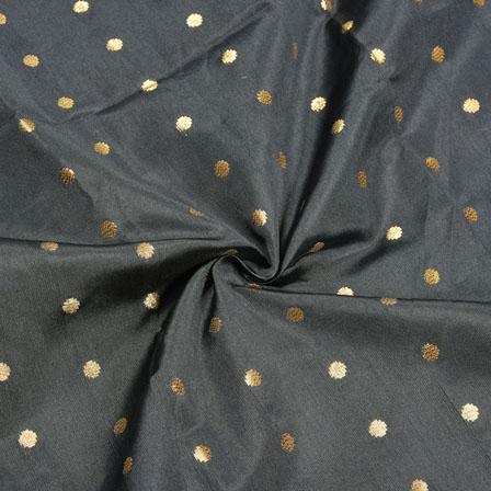 Black Golden Polka Zari Taffeta Silk Fabric-12323