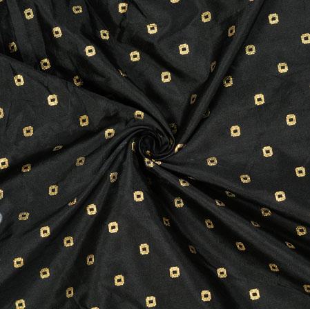 Black Golden Polka Zari Taffeta Silk Fabric-12631