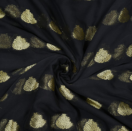 Black Golden Tree Chiffon Nazmin Fabric-41155
