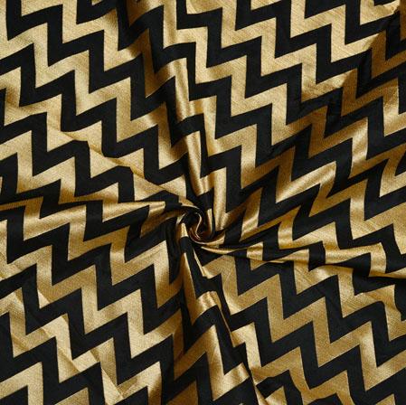 Black Golden Zig-Zag Banarasi Silk Fabric-12669