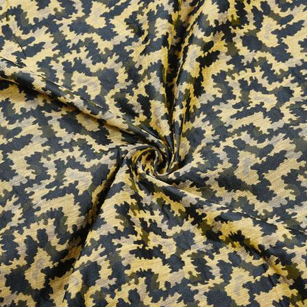 Black Golden Zig-Zag Jaquard SIlk Fabric-12467