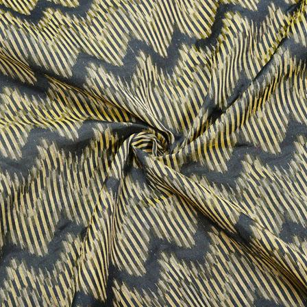 Black Golden Zig-Zag Jaquard SIlk Fabric-12470