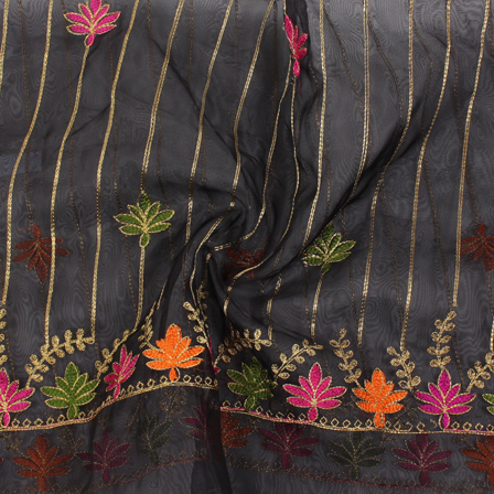 Black-Golden and Orange Flower Organza Embroidery Fabric-51428