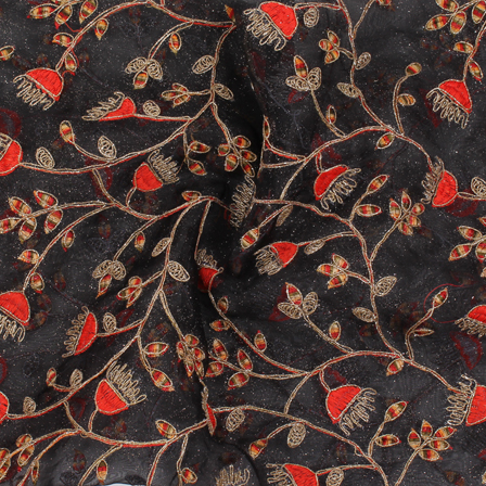 Black-Golden and Orange Organza Embroidery Fabric-51436