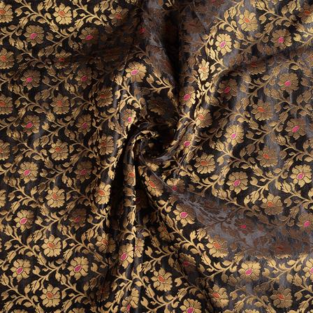 Black-Golden and Pink Banarasi Brocade Fabric-8605