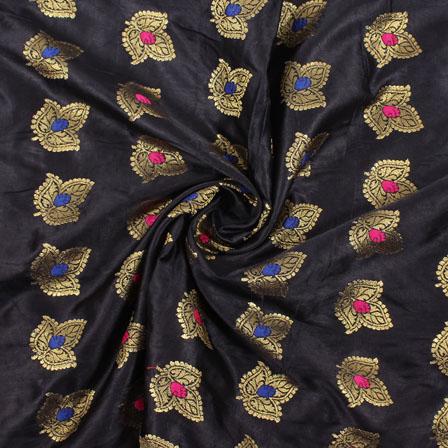 Black Golden and Pink Banarasi Silk Fabric-8952
