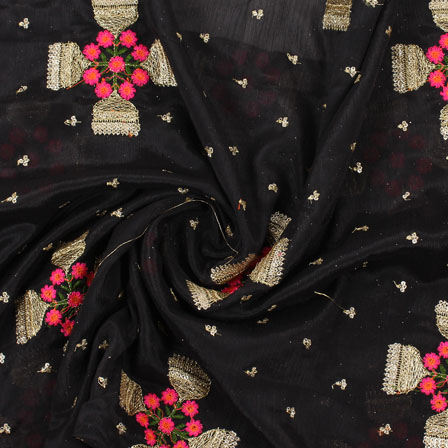 Black Golden and Pink Flower Embroidery Chinon Fabric-35006