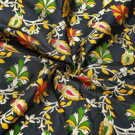 Black Golden and Red Floral Banarasi Silk Fabric-12429