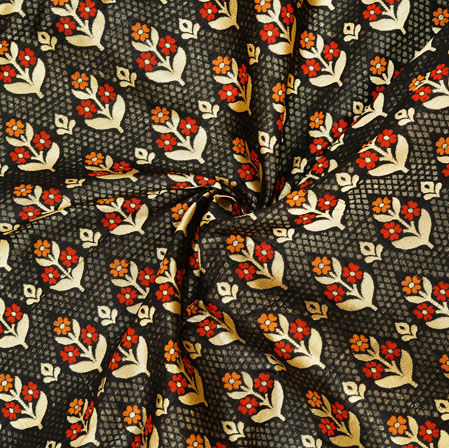 Black Golden and Red Floral Banarasi Silk Fabric-12577