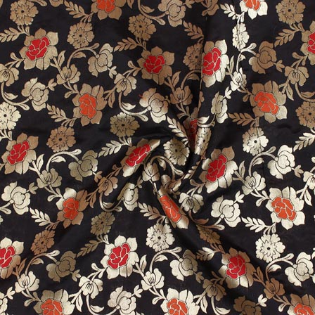 Black Golden and Red Floral Banarasi Silk Fabric-9271