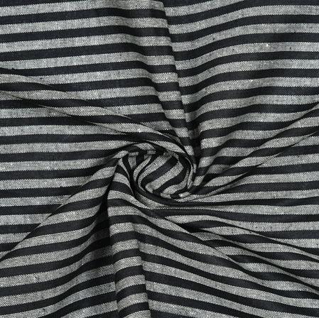 Black Gray Striped Handloom Cotton Fabric-40822