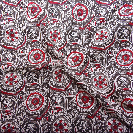Black-Gray and Red Floral Design Block Print Cotton Fabric-14178