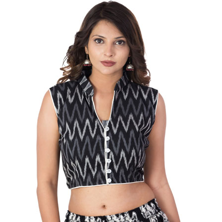 Black-Gray and White Sleeveless Cotton Ikat Blouse-30204